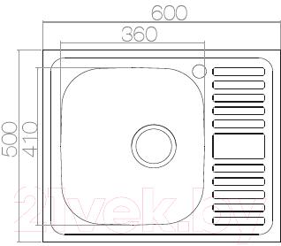 Мойка кухонная Asil AS50 60x50 (0.4мм, правая)