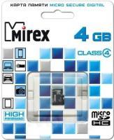 Карта памяти Mirex microSDHC (Class 4) 4GB (13612-MCROSD04) -