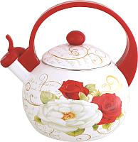 Чайник со свистком KING Hoff KH-3700 (красный с розами) -