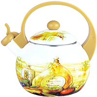 Чайник со свистком KING Hoff KH-3700 (бежевый с бутылками) -