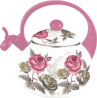 Чайник со свистком KING Hoff KH-3700 (фиолетовый с розами) -