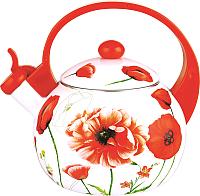 Чайник со свистком KING Hoff KH-3700 (красный с маками) -