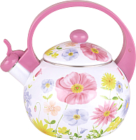 Чайник со свистком KING Hoff KH-3700 (фиолетовый с цветами) -