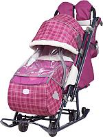 Санки-коляска Ника НД7-4 (вишневый в клетку) -