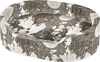 Лежанка для животных Ferplast Dandy 55 Cotone / 82942083 (карта мира на сером) -