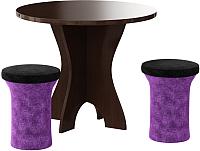 Обеденная группа Mebelico Лотос 43 (микровельвет, фиолетовый/черный) -