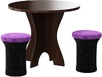 Обеденная группа Mebelico Лотос 43 (микровельвет, черный/фиолетовый) -