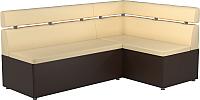 Уголок кухонный мягкий Mebelico Классик 53 правый / 59113 (экокожа, бежевый/коричневый) -