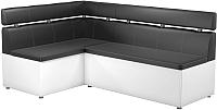 Уголок кухонный мягкий Mebelico Классик 53 левый / 59120 (экокожа, черный/белый) -