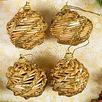 Набор ёлочных игрушек Yiwu Zhousima Craft Шишки / 3567239 (4шт, золото) -