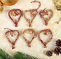Набор ёлочных игрушек Yiwu Zhousima Craft Сердечки / 3567242 (бордо, 6шт) -