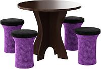 Обеденная группа Mebelico Лотос 43 с 4 пуфами (микровельвет, фиолетовый/черный) -