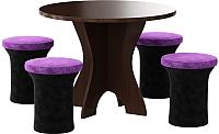Обеденная группа Mebelico Лотос 43 с 4 пуфами (микровельвет, черный/фиолетовый) -