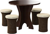 Обеденная группа Mebelico Лотос 43 с 4 пуфами (микровельвет, коричневый/бежевый) -