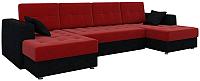 Диван п-образный Mebelico Эмир-П 85 / 57583 (микровельвет, красный/черный) -