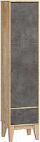 Шкаф-пенал Woodcraft Гарленд 10000 (дуб гамильтон натуральный/бетон чикаго темно-серый) -