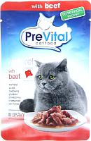 Корм для кошек Prevital Naturel с говядиной в соусе (85г) -