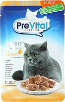 Корм для кошек Prevital Naturel с курицей в желе (85г) -