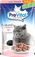 Корм для кошек Prevital Naturel с форелью в желе (85г) -