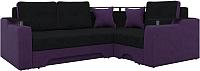 Диван угловой Mebelico Комфорт 90 правый / 57408 (микровельвет, черный/фиолетовый) -