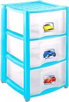 Комод пластиковый Пластишка 4313428 (3 ящика, голубой) -