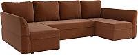 Диван П-образный Mebelico Гесен-П 101 / 60075 (рогожка, коричневый) -