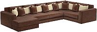 Диван п-образный Mebelico Мэдисон-П 93 / 59246 (микровельвет коричневый, подушки коричневый/бежевый) -
