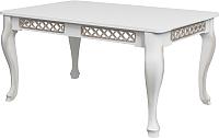 Обеденный стол Goldoptima Людовик (эмаль белая/патина золото) -