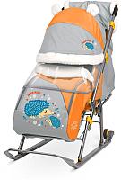 Санки-коляска Ника Детям 6 / НД6 (ежик, оранжевый/серый) -