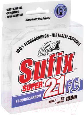 Леска флюорокарбоновая Sufix Super 21 Fluorocarbon 0.28мм / DS1IN026524B2S (150м, прозрачный)