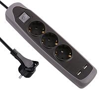 Удлинитель Electraline 62150 (2м, черный/серый) -