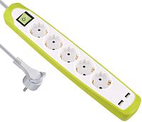 Удлинитель Electraline 62161 (2м, белый/зеленый) -