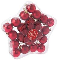 Набор ёлочных игрушек Зимнее волшебство Снежинка / 2122898 (красный, 24шт) -