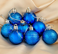 Набор ёлочных игрушек Зимнее волшебство Бусинка / 3505676 (синий, 24шт) -