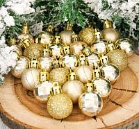 Набор ёлочных игрушек Зимнее волшебство Алия / 2155328 (золото, 25шт) -