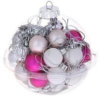 Набор ёлочных игрушек Зимнее волшебство Шары / 1023303 (белый/малиновый, 40шт) -