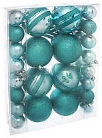 Набор ёлочных игрушек Зимнее волшебство Шары / 1009419 (бирюзовый, 41шт) -