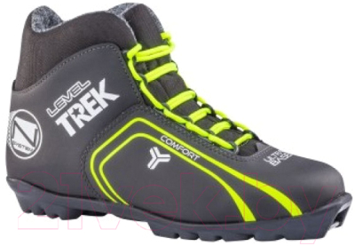 Ботинки для беговых лыж TREK Level 1 NNN (черный/лайм, р-р 45)