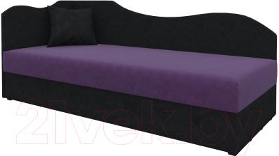 Тахта Mebelico 74 левый (микровельвет, фиолетовый/черный)