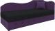 Тахта Mebelico 74 правый (микровельвет, черный/фиолетовый) -