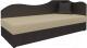 Тахта Mebelico 74 правый (экокожа, бежевый/коричневый) -