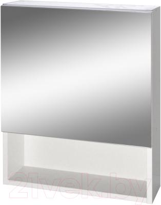 Шкаф с зеркалом для ванной Гамма 12 (белый)