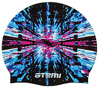 Шапочка для плавания Atemi PSC304 (черный/принт) -