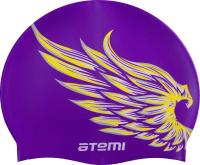 Шапочка для плавания Atemi PSC308 (лиловый/крылья) -