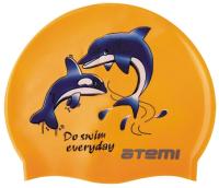 Шапочка для плавания Atemi PSC401 (оранжевый/дельфины) -