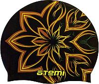 Шапочка для плавания Atemi PSC418 (черный/огненный цветок) -