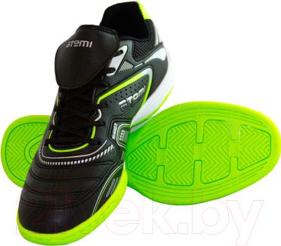 Бутсы футбольные Atemi SD300 Indoor (черный/салатовый, р-р 32)