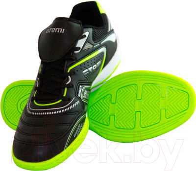 Бутсы футбольные Atemi SD300 Indoor (черный/салатовый, р-р 33)