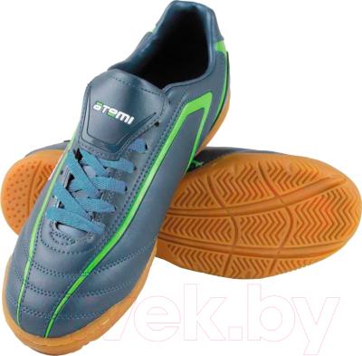 Бутсы футбольные Atemi SD500 Indoor (серый/зеленый, р-р 32)