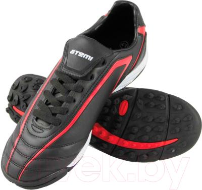 Бутсы футбольные Atemi SD500 TURF (черный/красный, р-р 45)